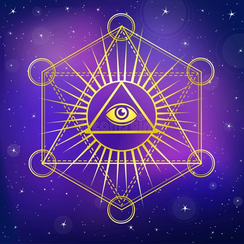 λευκό ασπίδων πρόνοιας ματιών ανασκόπησης Όλοι που βλέπουν το μάτι μέσα στην πυραμίδα τριγώνων διανυσματική απεικόνιση