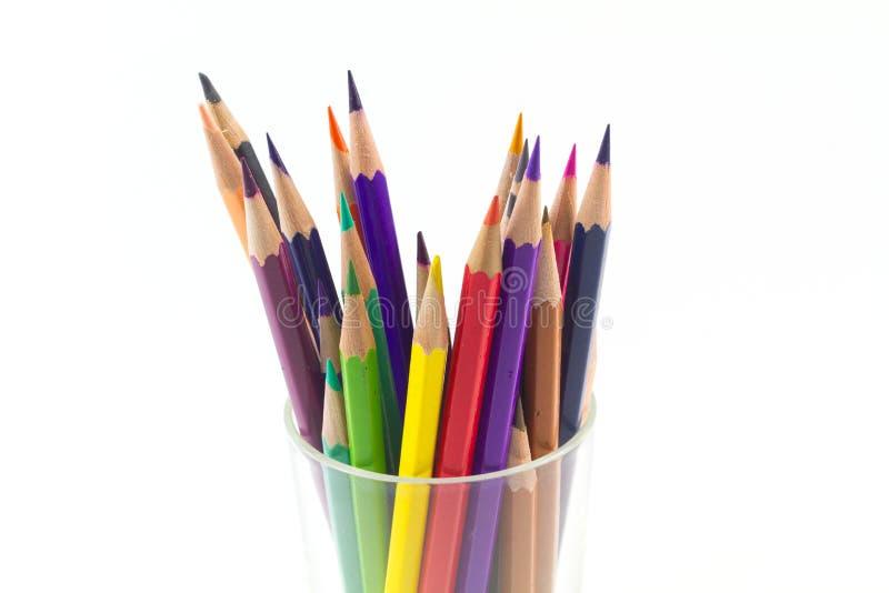 λευκό μολυβιών γυαλιού χρώματος ανασκόπησης στοκ φωτογραφία με δικαίωμα ελεύθερης χρήσης
