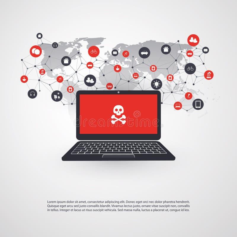 Ευπάθεια δικτύων - ιός, Malware, Ransomware, απάτη, Spam, Phishing, απάτη ηλεκτρονικού ταχυδρομείου, επίθεση χάκερ - σχέδιο έννοι απεικόνιση αποθεμάτων