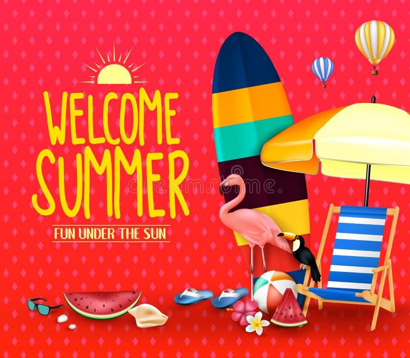 Ευπρόσδεκτη θερινή διασκέδαση στο πλαίσιο της αφίσας ήλιων με την ομπρέλα, ιστιοσανίδα απεικόνιση αποθεμάτων