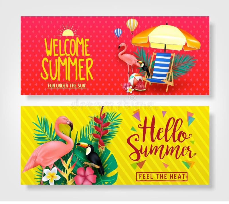 Ευπρόσδεκτο καλοκαίρι και γειά σου θερινά δημιουργικά εμβλήματα διανυσματική απεικόνιση