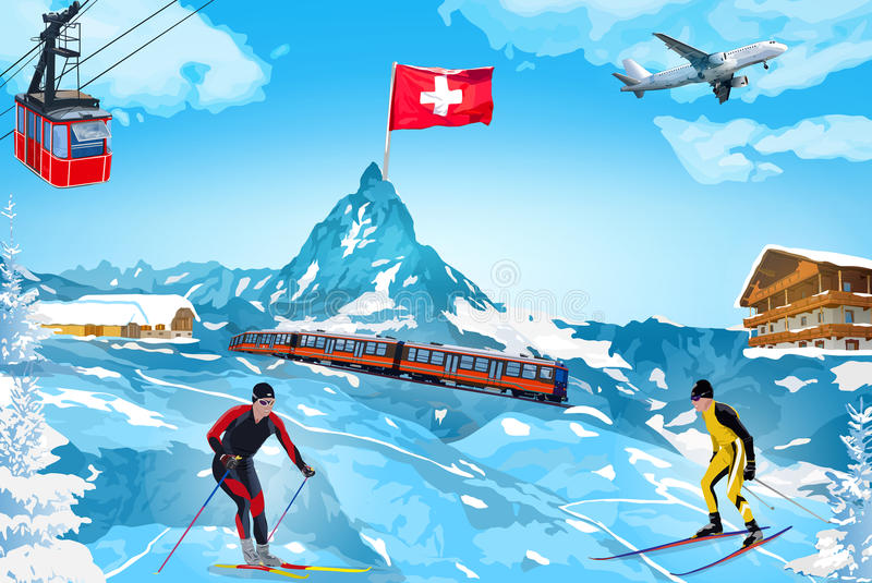 Ευπρόσδεκτη κάρτα χειμερινών βουνών Άλπεων διανυσματική απεικόνιση
