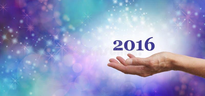 Ευπρόσδεκτο έμβλημα εορτασμού του 2016 στοκ φωτογραφίες με δικαίωμα ελεύθερης χρήσης