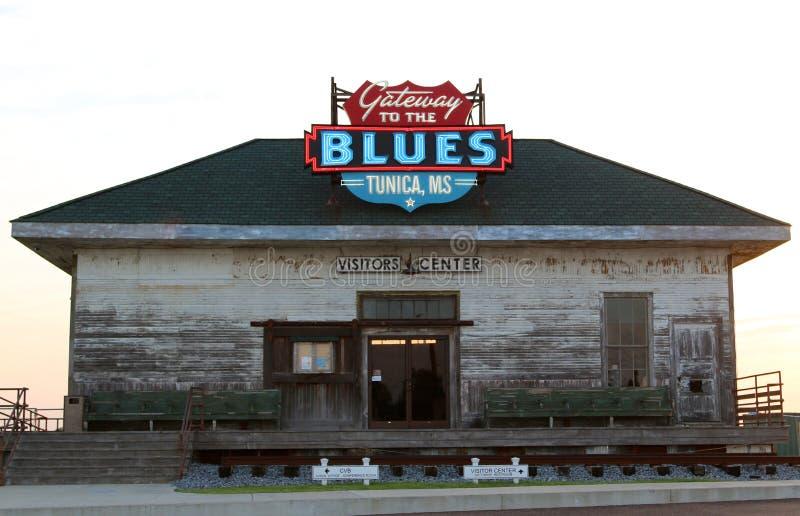 Ευπρόσδεκτο κέντρο του Μισισιπή Tunica, πύλη στα μπλε στοκ εικόνα
