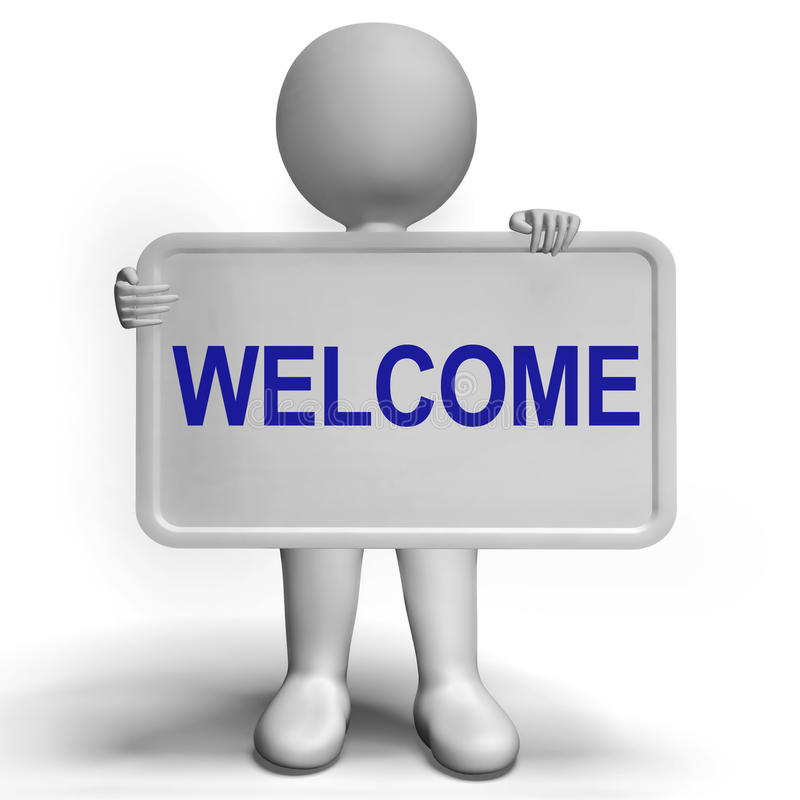 Ευπρόσδεκτο σημάδι που παρουσιάζει γειά σου το χαιρετισμό ή φιλοξενία διανυσματική απεικόνιση