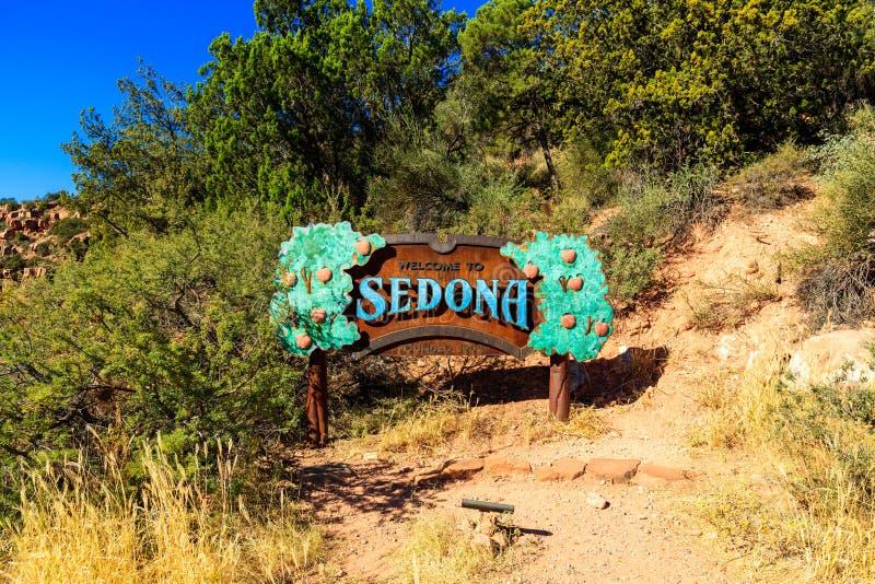 Ευπρόσδεκτο σημάδι Sedona στοκ εικόνες