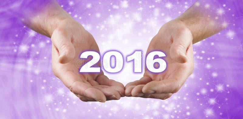 Ευπρόσδεκτο το 2016 έμβλημα εορτασμού στοκ εικόνα