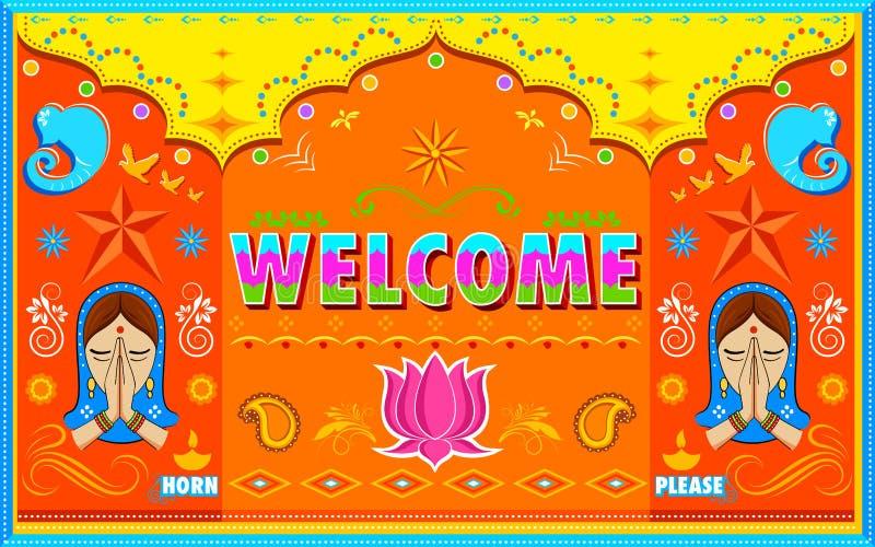 Ευπρόσδεκτο υπόβαθρο στο ινδικό ύφος χρωμάτων φορτηγών απεικόνιση αποθεμάτων