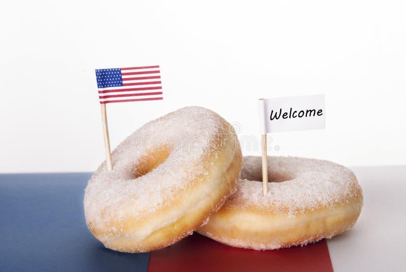 Ευπρόσδεκτο doughnut στοκ φωτογραφίες