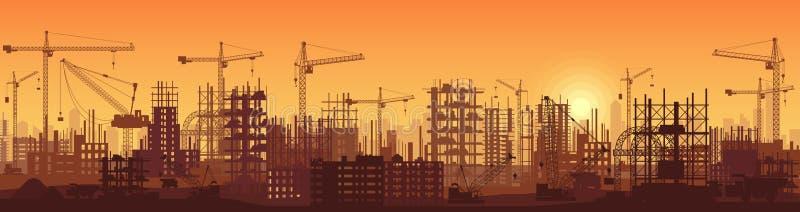 Ευρέως υψηλή λεπτομερής σκιαγραφία απεικόνισης εμβλημάτων στο ηλιοβασίλεμα των κτηρίων κάτω από την οικοδόμηση στη διαδικασία απεικόνιση αποθεμάτων