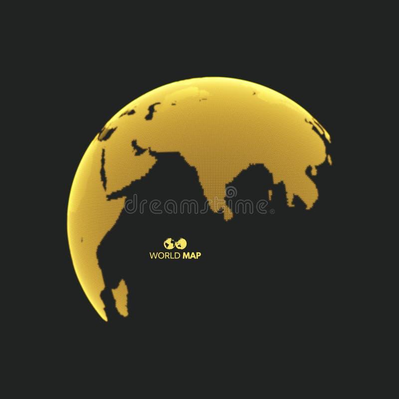 Ευρασία γήινη σφαίρα Σφαιρική έννοια επιχειρησιακού μάρκετινγκ Διαστιγμένο ύφος ελεύθερη απεικόνιση δικαιώματος