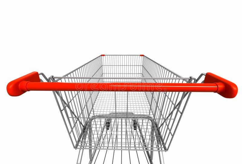 Ευρεία εικόνα γωνίας του κάρρου αγορών οπισθοσκόπος απομονωμένο στο λευκό BA ελεύθερη απεικόνιση δικαιώματος