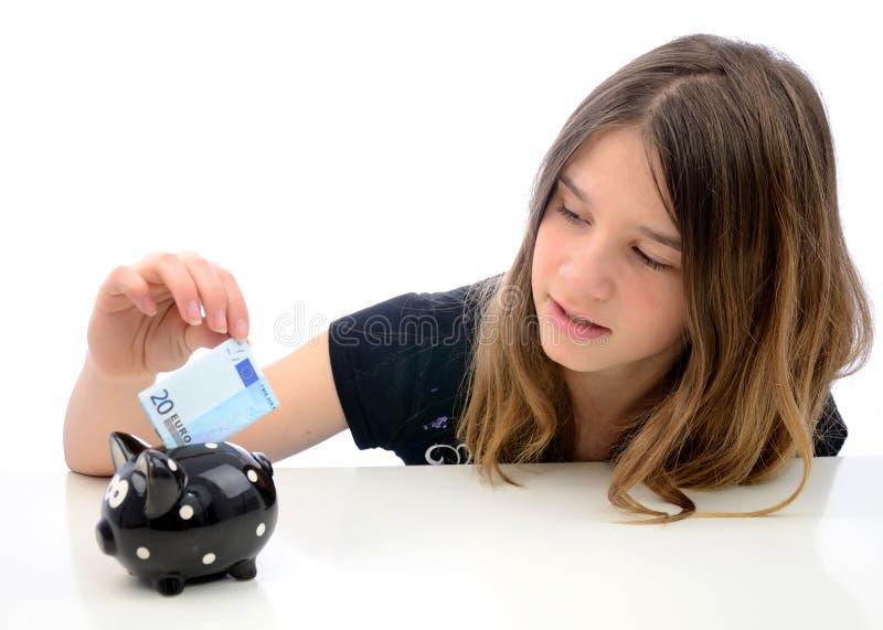 ευρο- έφηβος αποταμίευσης χρημάτων στοκ εικόνα