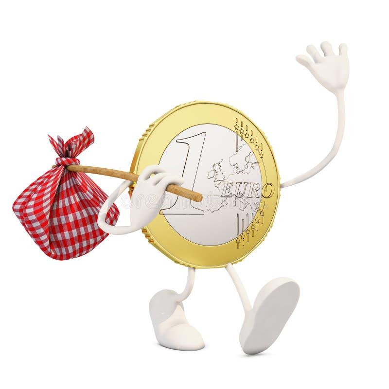 Ευρο- αναχώρηση νομισμάτων διανυσματική απεικόνιση
