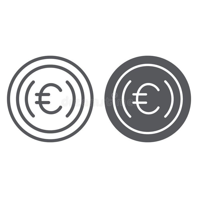 Ευρο- γραμμή νομισμάτων και glyph εικονίδιο, μετρητά και χρήματα, ευρο- σημάδι σεντ, διανυσματική γραφική παράσταση, ένα γραμμικό απεικόνιση αποθεμάτων