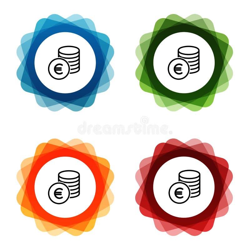 Ευρο- εικονίδια τράπεζας χρημάτων μετρητών r διανυσματική απεικόνιση