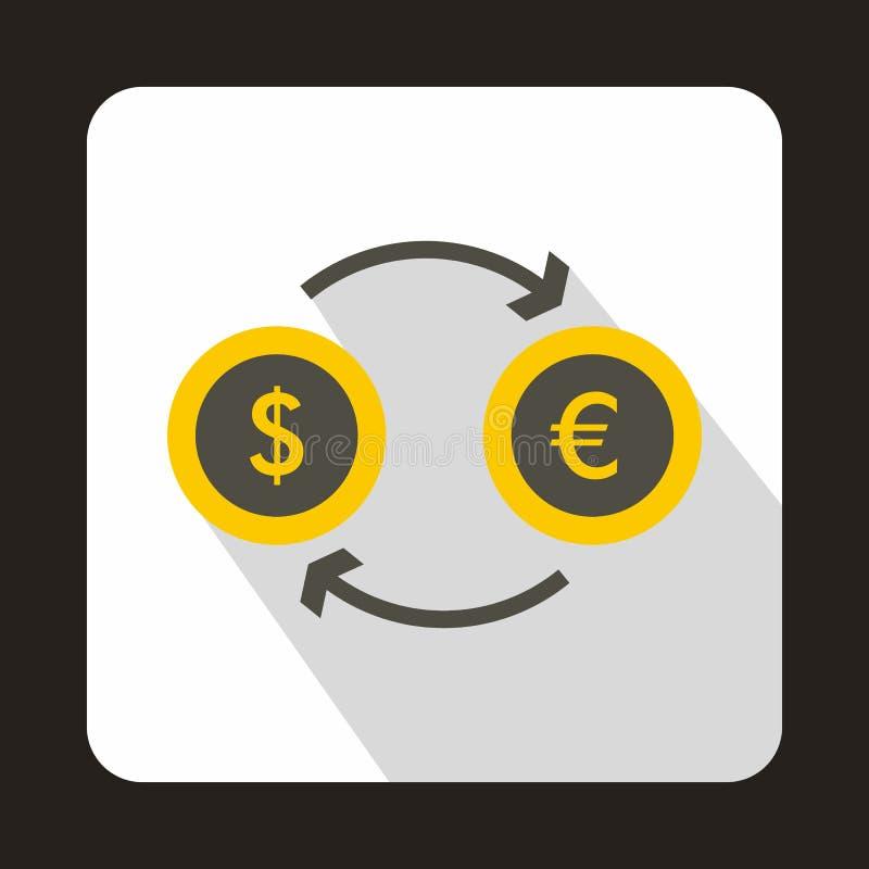 Ευρο- εικονίδιο ανταλλαγής δολαρίων ευρο-, επίπεδο ύφος ελεύθερη απεικόνιση δικαιώματος