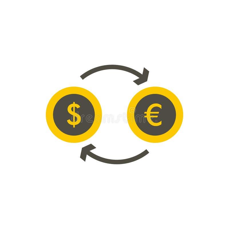 Ευρο- εικονίδιο ανταλλαγής δολαρίων ευρο-, επίπεδο ύφος απεικόνιση αποθεμάτων