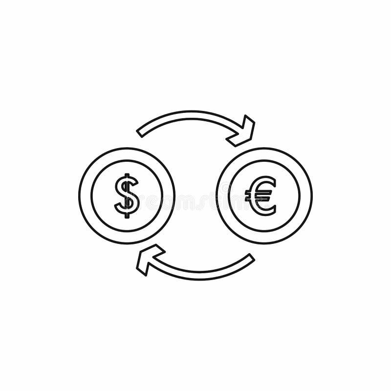 Ευρο- εικονίδιο ανταλλαγής δολαρίων ευρο-, ύφος περιλήψεων απεικόνιση αποθεμάτων