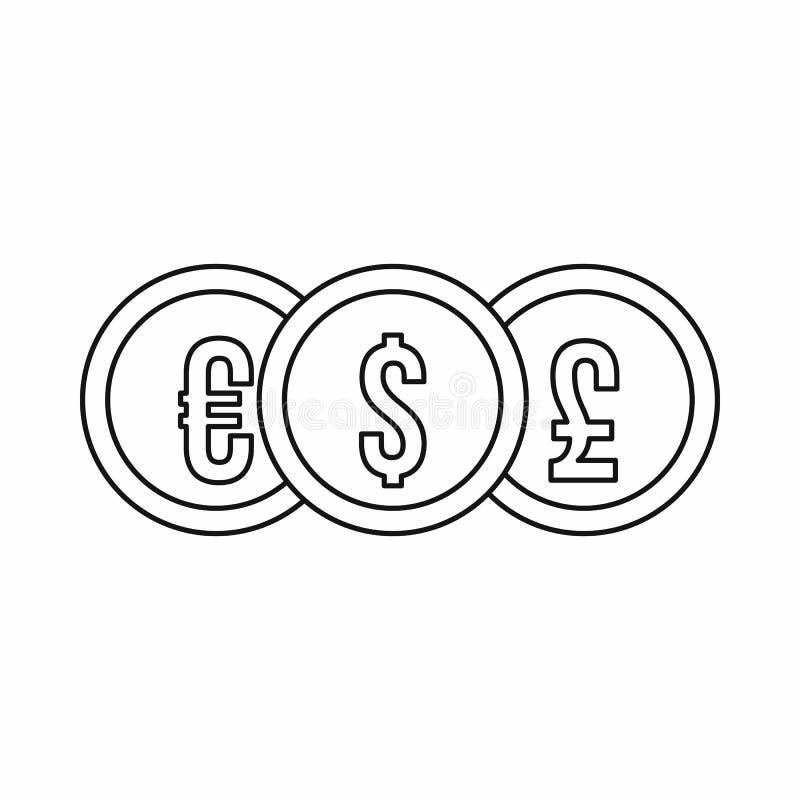 Ευρο- εικονίδιο νομισμάτων λιβρών δολαρίων, ύφος περιλήψεων διανυσματική απεικόνιση