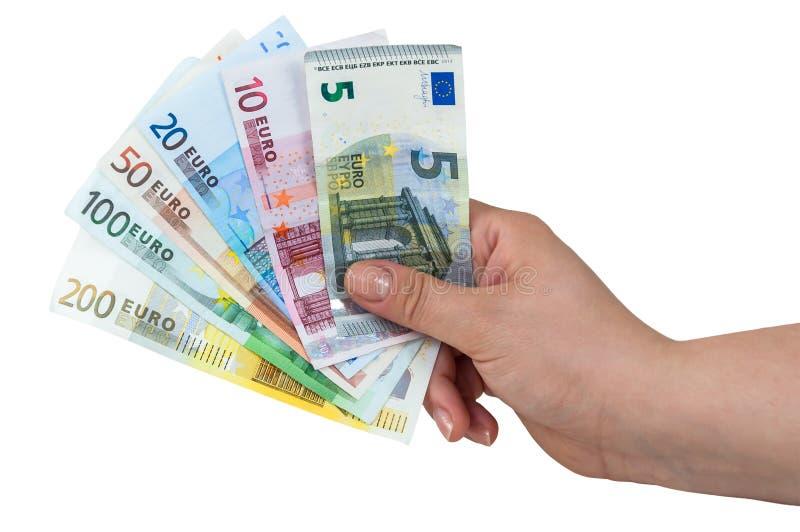 ευρο- εκμετάλλευση χεριών τραπεζογραμματίων στοκ εικόνα