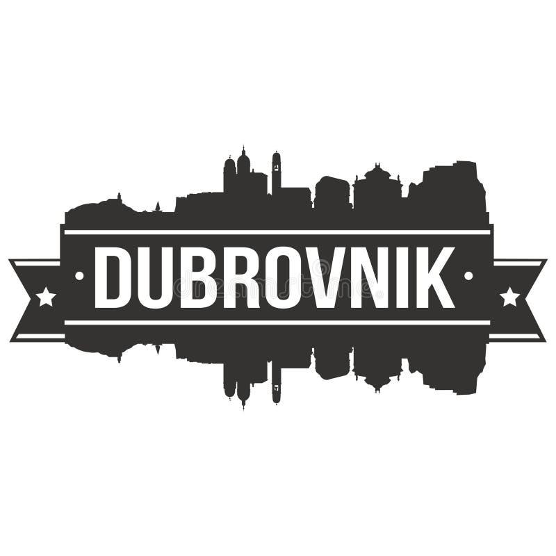 Ευρο- Ευρώπη Dubrovnik της Κροατίας εικονιδίων διανυσματικό τέχνης σχεδίου πρότυπο Editable σκιαγραφιών πόλεων οριζόντων επίπεδο ελεύθερη απεικόνιση δικαιώματος