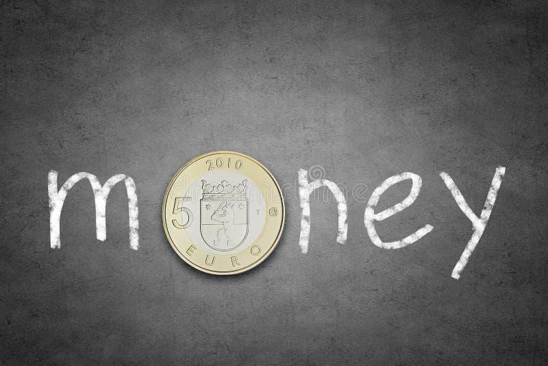 ευρο- ευρώ πέντε εστίαση εκατό τραπεζών σχοινί σημειώσεων χρημάτων στοκ φωτογραφίες με δικαίωμα ελεύθερης χρήσης