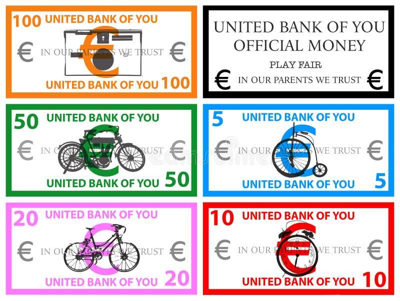 Ευρο- διάνυσμα χρημάτων παιχνιδιού απεικόνιση αποθεμάτων