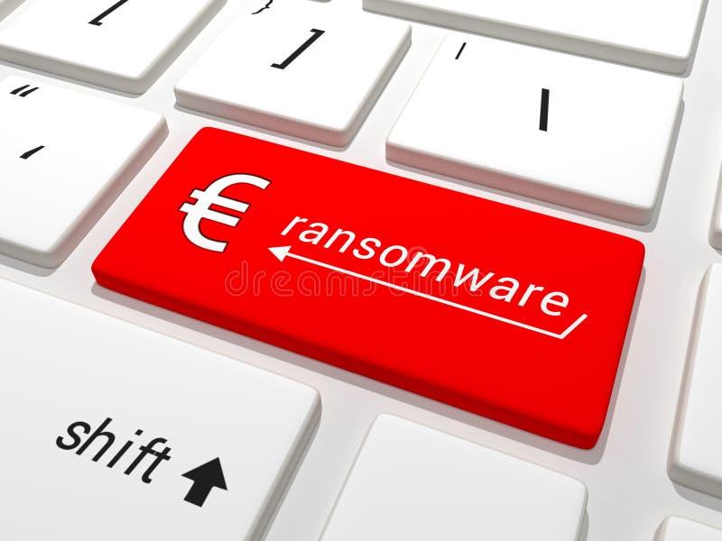 Ευρο- κλειδί Ransomware σε ένα πληκτρολόγιο διανυσματική απεικόνιση