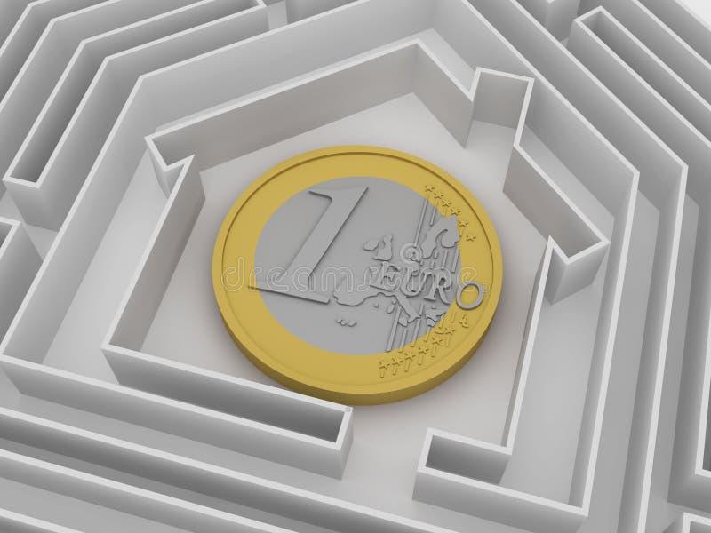 ευρο- λαβύρινθος νομισ&mu διανυσματική απεικόνιση