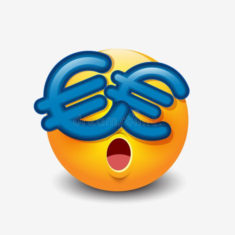 Ευρο- μάτια συμβόλων emoticon, emoji, smiley - διανυσματική απεικόνιση απεικόνιση αποθεμάτων