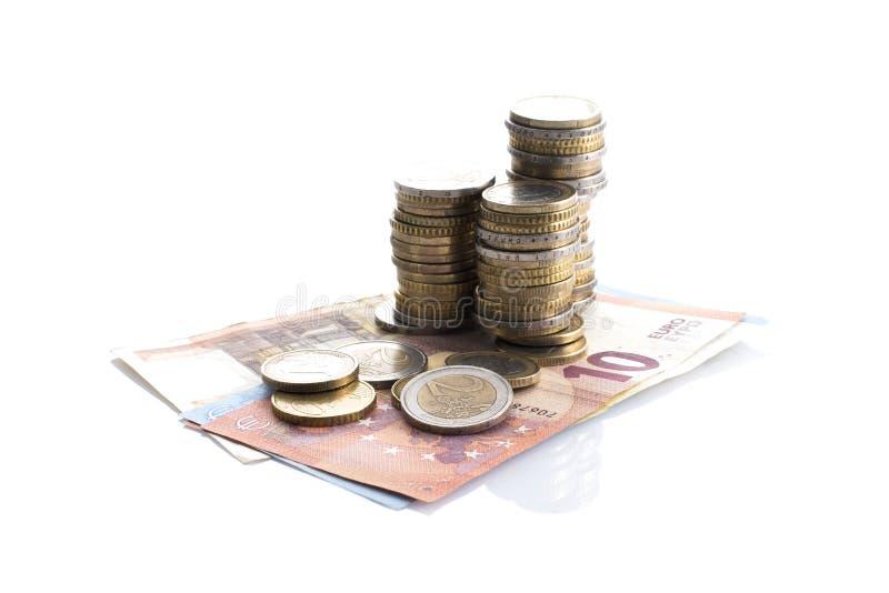 Ευρο- μετρητά στο άσπρο υπόβαθρο στοκ φωτογραφία