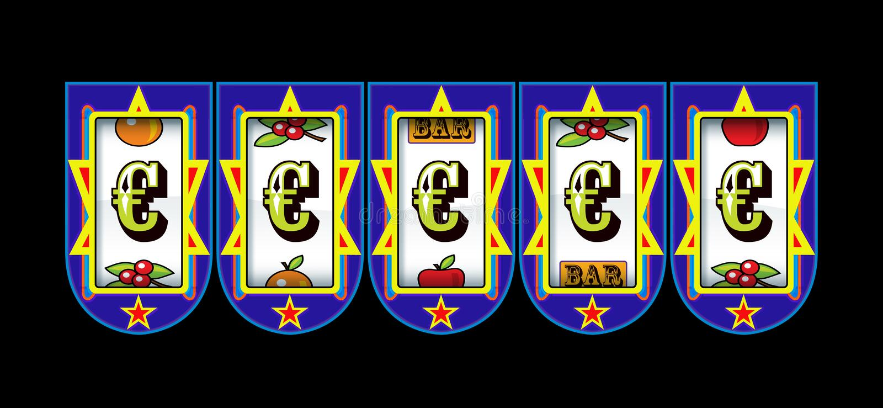 Ευρο- μηχάνημα τυχερών παιχνιδιών με κέρματα συμβόλων απεικόνιση αποθεμάτων