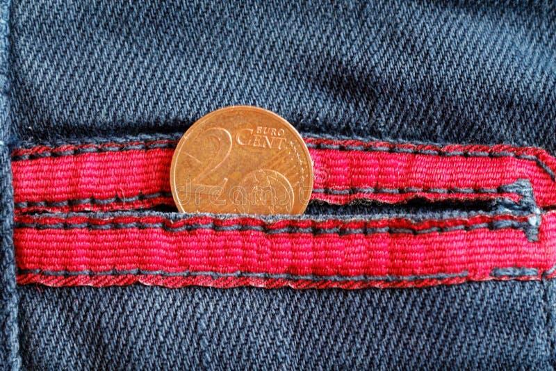 Ευρο- νόμισμα με μια μετονομασία του ευρο- σεντ δύο στην τσέπη στοκ εικόνες με δικαίωμα ελεύθερης χρήσης