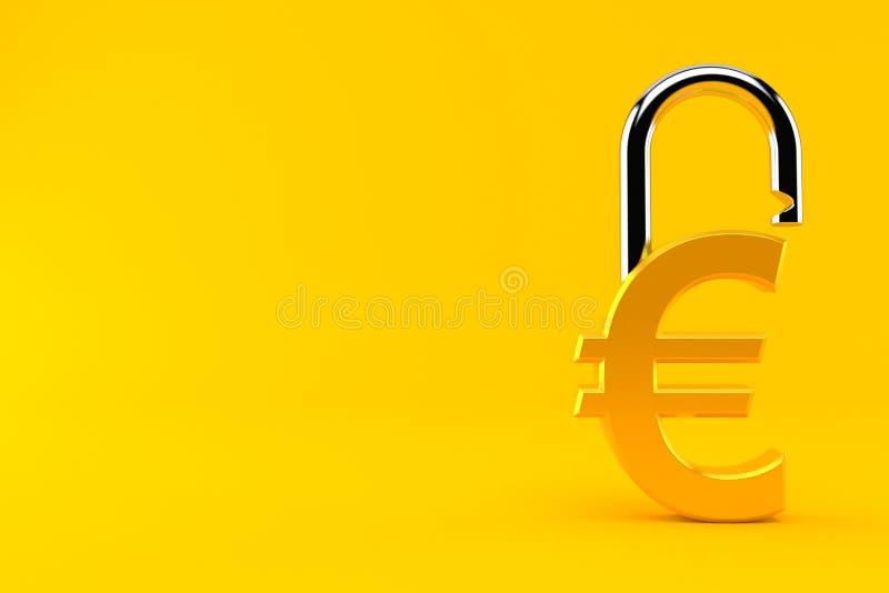 Ευρο- νόμισμα με το λουκέτο ελεύθερη απεικόνιση δικαιώματος