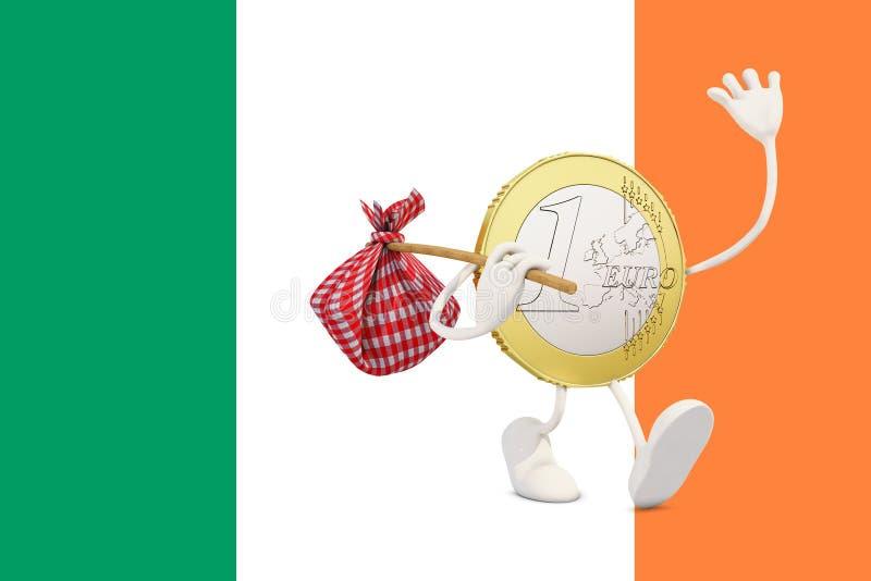 Ευρο- νόμισμα που αποχωρεί από την Ιρλανδία διανυσματική απεικόνιση