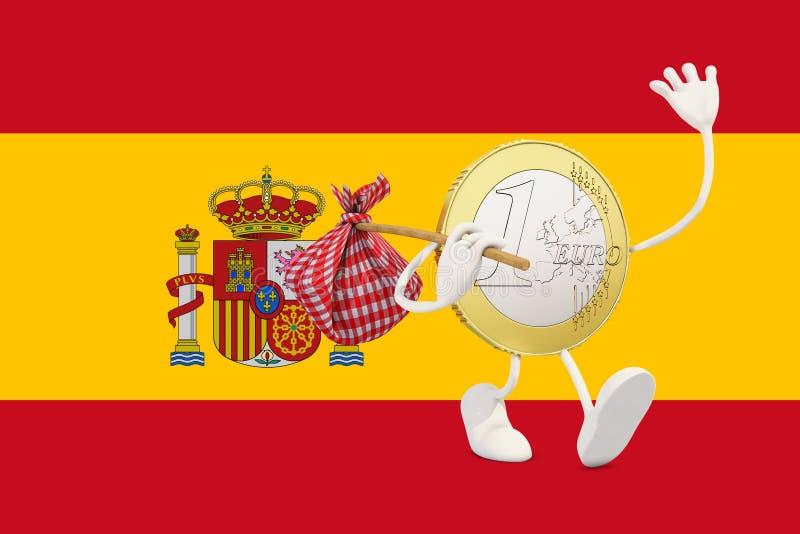 Ευρο- νόμισμα που αποχωρεί από την Ισπανία ελεύθερη απεικόνιση δικαιώματος