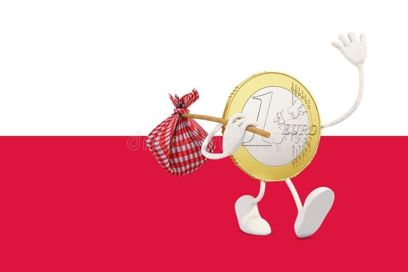 Ευρο- νόμισμα που αποχωρεί από την Πολωνία ελεύθερη απεικόνιση δικαιώματος