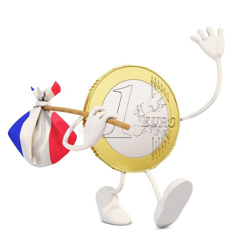 Ευρο- νόμισμα που αποχωρεί από τη Γαλλία απεικόνιση αποθεμάτων