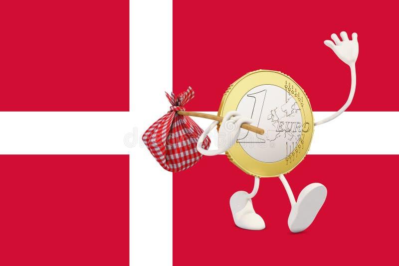 Ευρο- νόμισμα που αποχωρεί από τη Δανία ελεύθερη απεικόνιση δικαιώματος