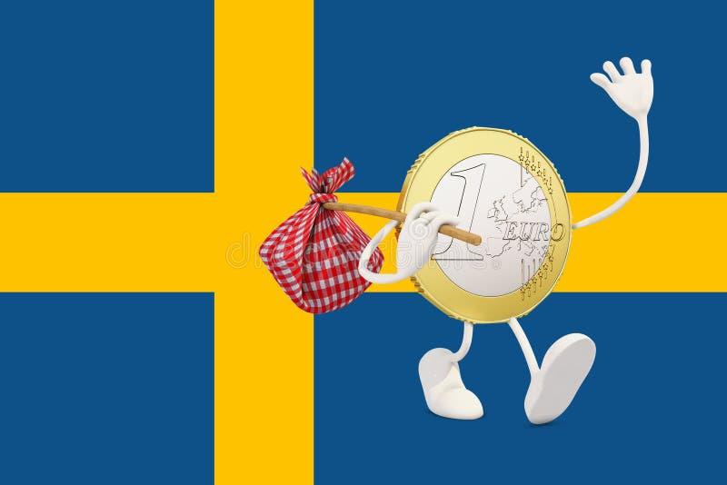 Ευρο- νόμισμα που αποχωρεί από τη Σουηδία απεικόνιση αποθεμάτων