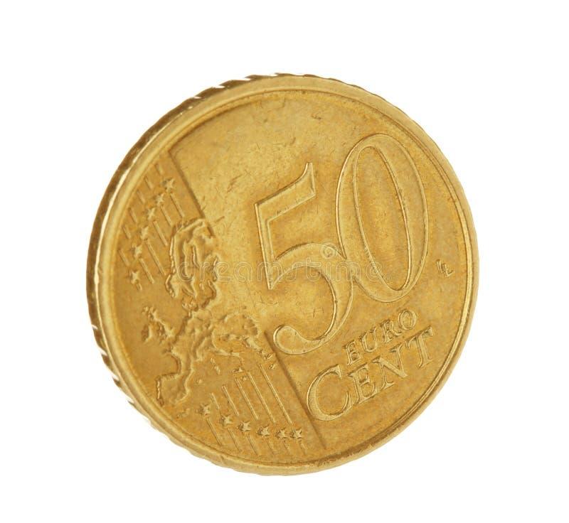 Ευρο- νόμισμα σεντ πενήντα στο λευκό στοκ φωτογραφίες με δικαίωμα ελεύθερης χρήσης