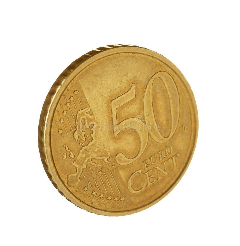 Ευρο- νόμισμα σεντ πενήντα στο λευκό στοκ εικόνα με δικαίωμα ελεύθερης χρήσης