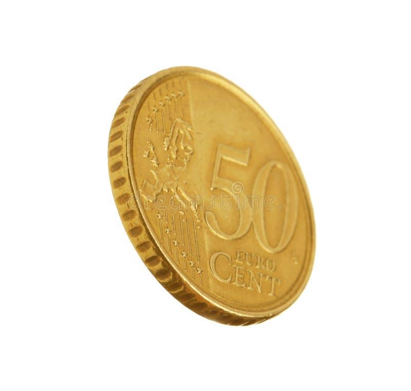 Ευρο- νόμισμα σεντ πενήντα στο λευκό στοκ φωτογραφίες