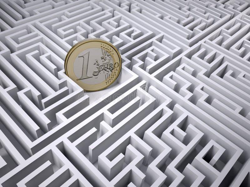 Ευρο- νόμισμα στο λαβύρινθο λαβύρινθων διανυσματική απεικόνιση