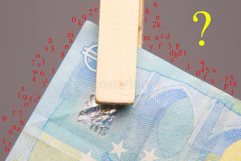 Ευρο- νόμισμα της νομικής προσφοράς, για να αγοράσει μέσα την αγορά στοκ εικόνες