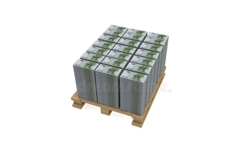 Ευρο- λογαριασμοί στην παλέτα στοκ εικόνα