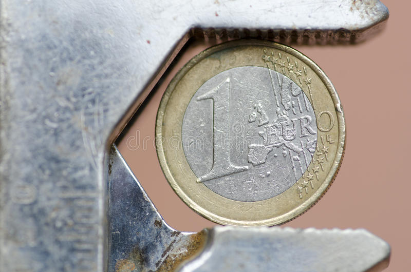 ευρο- πίεση νομίσματος κά&t στοκ εικόνες