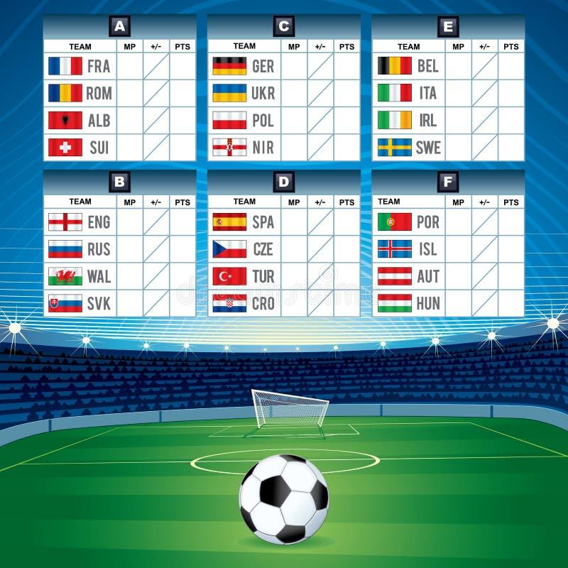 Ευρο- πίνακας ποδοσφαίρου με τις σημαίες eps σχεδίου 10 ανασκόπησης διάνυσμα τεχνολογίας ελεύθερη απεικόνιση δικαιώματος
