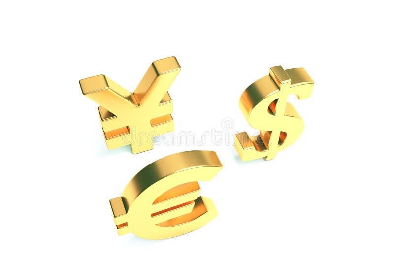 Ευρο- σημάδια δολαρίων γεν στο λευκό με το ψαλίδισμα της πορείας απεικόνιση αποθεμάτων
